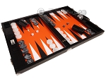 picture of Wycliffe Brothers® Tournament Backgammon Set - Black Croco with Orange Field - Gen II (2 of 12)