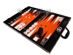 picture of Wycliffe Brothers® Tournament Backgammon Set - Black Croco with Orange Field - Gen II (3 of 12)
