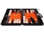 picture of Wycliffe Brothers® Tournament Backgammon Set - Black Croco with Orange Field - Gen II (4 of 12)