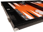 picture of Wycliffe Brothers® Tournament Backgammon Set - Black Croco with Orange Field - Gen II (5 of 12)