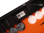 picture of Wycliffe Brothers® Tournament Backgammon Set - Black Croco with Orange Field - Gen II (9 of 12)