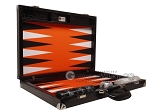 picture of Wycliffe Brothers® Tournament Backgammon Set - Black Croco with Orange Field - Gen II (10 of 12)