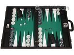 Wycliffe Brothers® Tournament Backgammon Set - Black with Green Field - Gen II - Item: 3231
