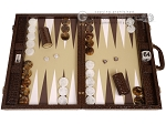 Wycliffe Brothers® Tournament Backgammon Set - Brown Croco with Beige Field - Gen II - Item: 3233