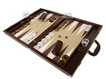 picture of Wycliffe Brothers® Tournament Backgammon Set - Brown Croco with Beige Field - Gen II (3 of 12)