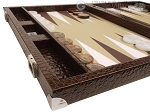 picture of Wycliffe Brothers® Tournament Backgammon Set - Brown Croco with Beige Field - Gen II (5 of 12)