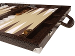 picture of Wycliffe Brothers® Tournament Backgammon Set - Brown Croco with Beige Field - Gen II (6 of 12)