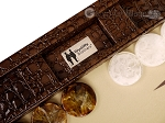 picture of Wycliffe Brothers® Tournament Backgammon Set - Brown Croco with Beige Field - Gen II (9 of 12)