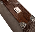 picture of Wycliffe Brothers® Tournament Backgammon Set - Brown Croco with Beige Field - Gen II (12 of 12)