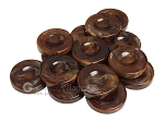 Backgammon Checkers - Marbleized - Brown - with Finger Dish - (1 3/4 in. Dia.) - Roll of 15 - Item: 3827