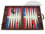 Dal Negro Eco Leather Backgammon Set - Bordeaux - Item: 93