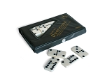 DOUBLE 6 Dominoes White Tiles with Black Dots and Spinners in Vinyl Case - Item: 3156