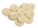 Backgammon Checkers - Opaque - Ivory - with Finger Dish - (1 3/4 in. Dia.) - Roll of 15