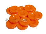 Backgammon Checkers - Opaque - Orange - with Finger Dish - (1 3/4 in. Dia.) - Roll of 15 - Item: 3850