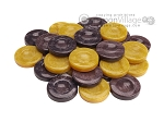 Backgammon Checkers - High Gloss Acrylic - Purple & Yellow (1 1/2in. Dia.) - Set of 30 - Item: 2622