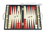 Zaza & Sacci Leather Backgammon Set - Model ZS-200 - Travel - Blue - Item: 2447