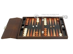 Zaza & Sacci® Leather Backgammon Set - Model ZS-242 - Travel - Brown Lizard