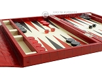 picture of Zaza & Sacci® Leather Backgammon Set - Model ZS-242 - Travel - Red Croco (5 of 12)