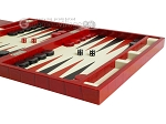 picture of Zaza & Sacci® Leather Backgammon Set - Model ZS-242 - Travel - Red Croco (6 of 12)