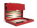 Zaza & Sacci® Leather Backgammon Set - Model ZS-242 - Travel - Red Croco
