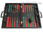 Zaza & Sacci® Leather Backgammon Set - Model ZS-612 - Large - Black Lizard II - Item: 2570