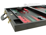 Zaza & Sacci® Leather Backgammon Set - Model ZS-612 - Large - Black Lizard II