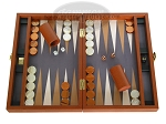 Zaza & Sacci Leather/Microfiber Backgammon Set - Model ZS-305 - Small - Brown - Item: 2158