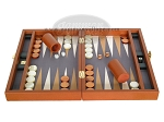 picture of Zaza & Sacci Leather/Microfiber Backgammon Set - Model ZS-305 - Small - Brown (4 of 11)