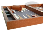 picture of Zaza & Sacci Leather/Microfiber Backgammon Set - Model ZS-305 - Small - Brown (5 of 11)