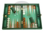 Zaza & Sacci Leather/Microfiber Backgammon Set - Model ZS-305 - Small - Green - Item: 2157