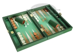 picture of Zaza & Sacci Leather/Microfiber Backgammon Set - Model ZS-305 - Small - Green (2 of 12)
