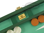 picture of Zaza & Sacci Leather/Microfiber Backgammon Set - Model ZS-305 - Small - Green (7 of 12)