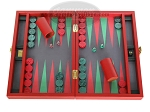 Zaza & Sacci Leather/Microfiber Backgammon Set - Model ZS-305 - Small - Red