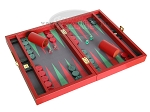 picture of Zaza & Sacci® Leather/Microfiber Backgammon Set - Model ZS-305 - Small - Red (2 of 12)