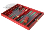 picture of Zaza & Sacci Leather/Microfiber Backgammon Set - Model ZS-305 - Small - Red (3 of 12)