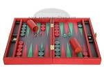 picture of Zaza & Sacci Leather/Microfiber Backgammon Set - Model ZS-305 - Small - Red (4 of 12)