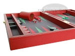 Zaza & Sacci® Leather/Microfiber Backgammon Set - Model ZS-305 - Small - Red