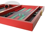 picture of Zaza & Sacci® Leather/Microfiber Backgammon Set - Model ZS-305 - Small - Red (6 of 12)