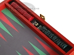 picture of Zaza & Sacci Leather/Microfiber Backgammon Set - Model ZS-305 - Small - Red (9 of 12)