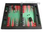 Zaza & Sacci® Leather/Microfiber Table Top Backgammon Set - Black - Item: 2449