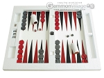 Zaza & Sacci Leather Table Top Backgammon Set - White Croco - Item: 2450