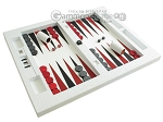 picture of Zaza & Sacci® Leather Table Top Backgammon Set - White Croco (2 of 12)