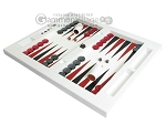 picture of Zaza & Sacci® Leather Table Top Backgammon Set - White Croco (3 of 12)