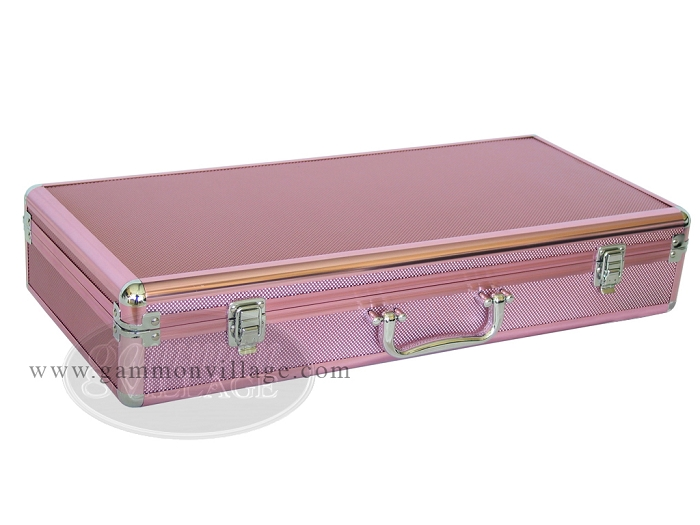 Empty Aluminum Mah Jong Case with Diamond Surface - Pink