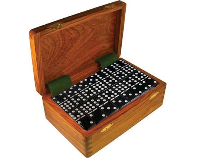 DOUBLE 9 Black Dominoes Set - With Spinners - Wood Box