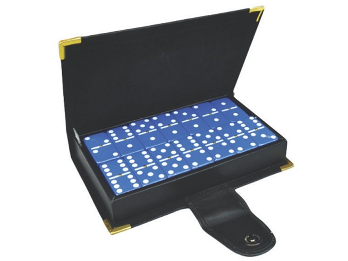 DOUBLE 6 Blue Dominoes Set - With Spinners - Leather Box
