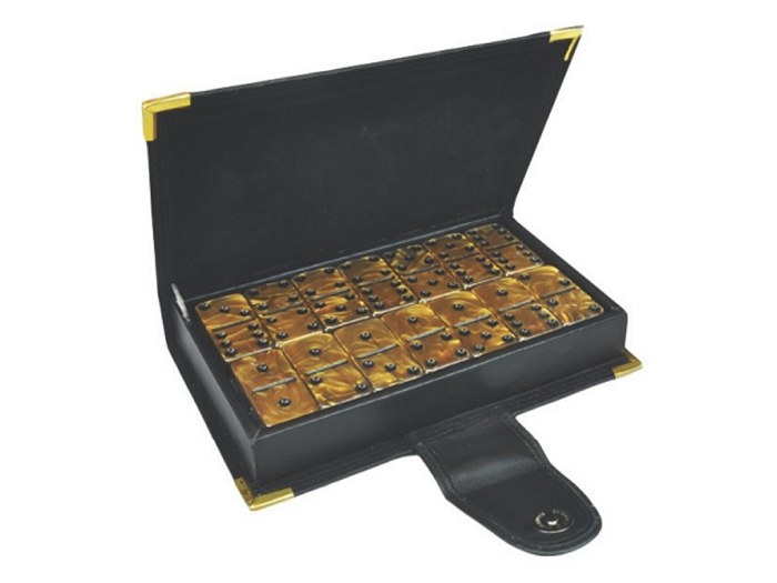DOUBLE 6 Gold Dominoes Set - Leather Box