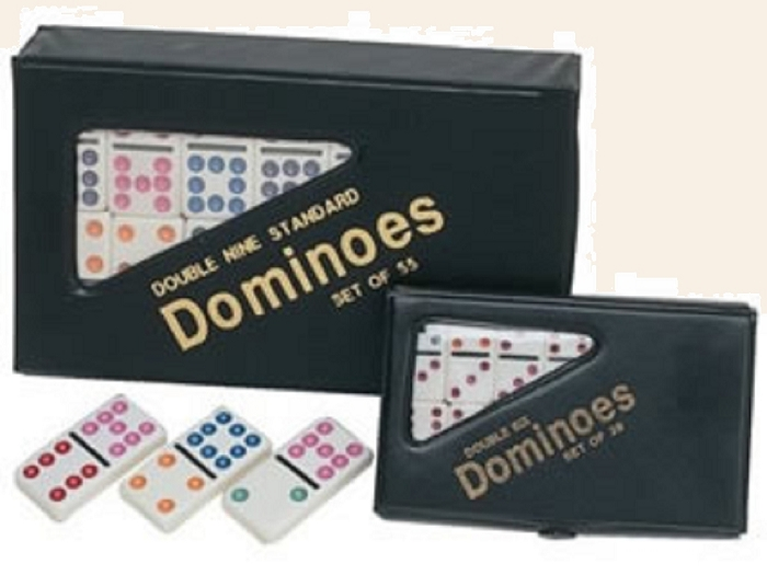 DOUBLE 6 Dominoes Mini White Tiles with Assorted Color Dots in Vinyl Case