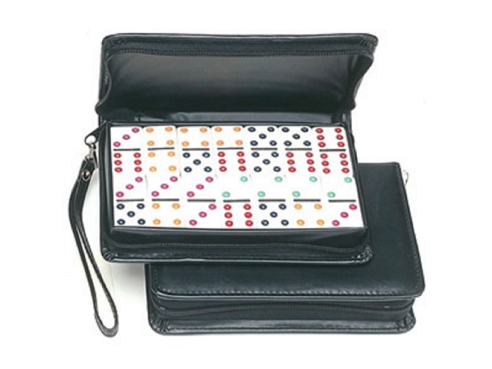 DOUBLE 9 Colored Dot Dominoes in Case