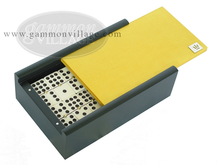 Double 9 Venetian Dominoes in Colored Wood Box - Yellow